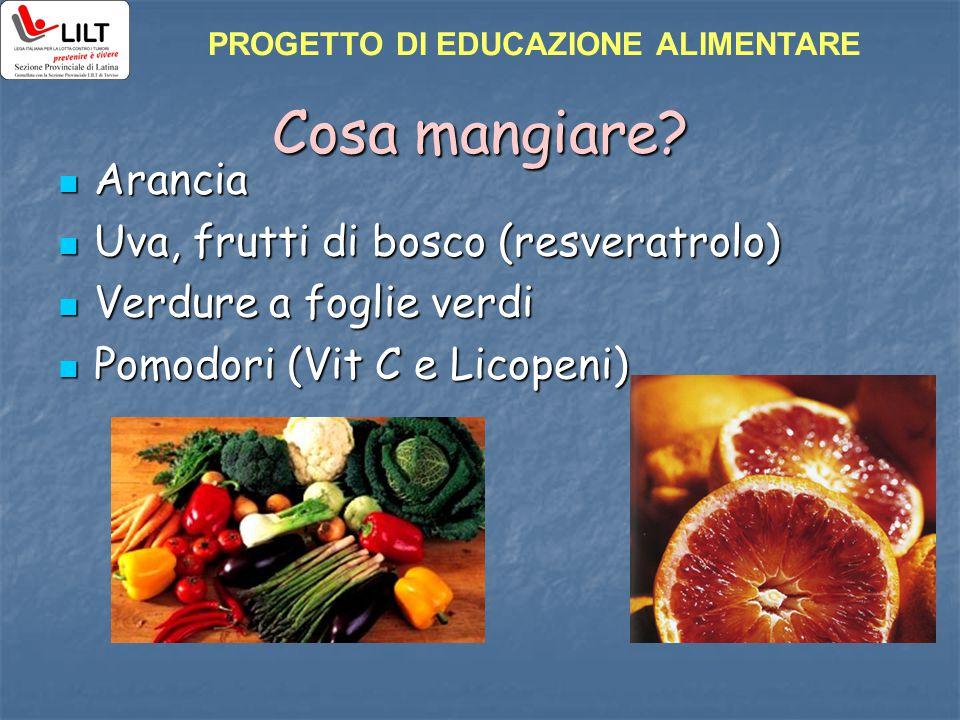 Cosa mangiare? Arancia Arancia Uva, frutti di bosco (resveratrolo) Uva, frutti di bosco (resveratrolo) Verdure a foglie verdi Verdure a foglie verdi P