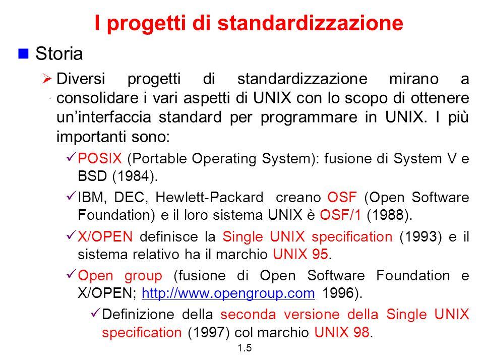 1.6 Una variante del sistema UNIX Sebbene ci siano molte versioni di UNIX, le compagnie più importanti forniscono una versione basata su UNIX System V Release 4 (SVR4).