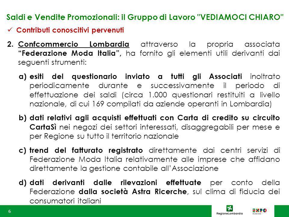 Saldi e Vendite Promozionali: il Gruppo di Lavoro VEDIAMOCI CHIARO Contributi conoscitivi pervenuti 2.