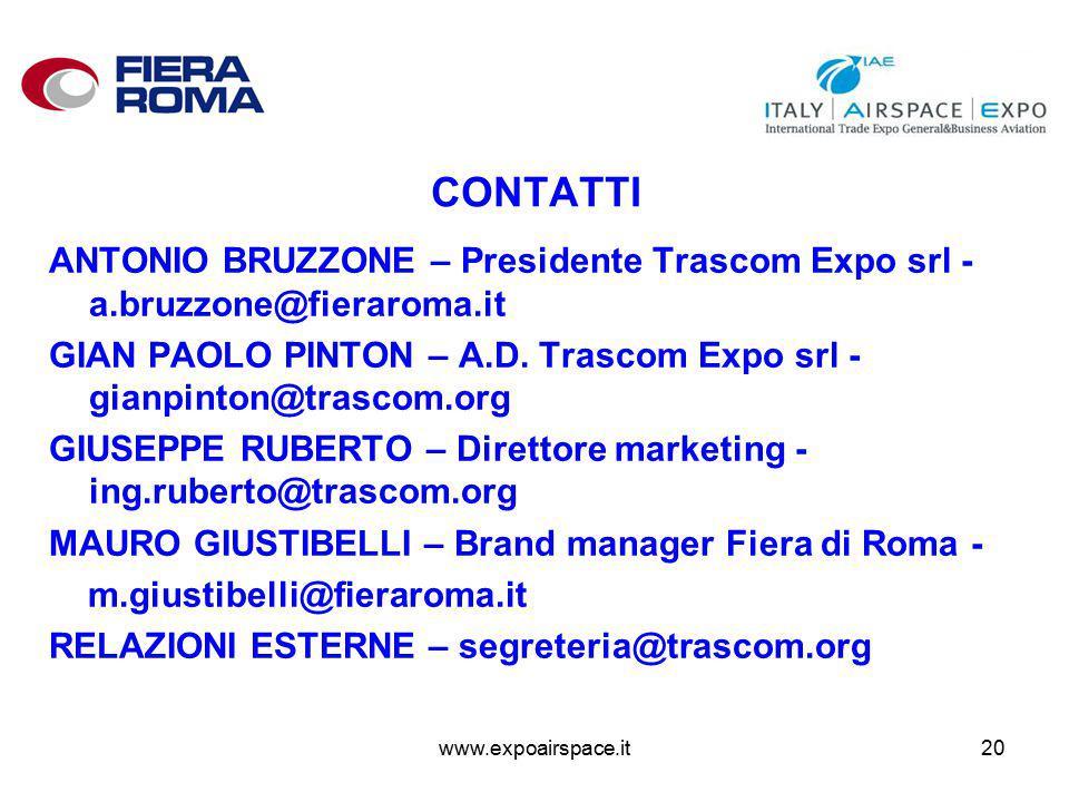 www.expoairspace.it20 CONTATTI ANTONIO BRUZZONE – Presidente Trascom Expo srl - a.bruzzone@fieraroma.it GIAN PAOLO PINTON – A.D.