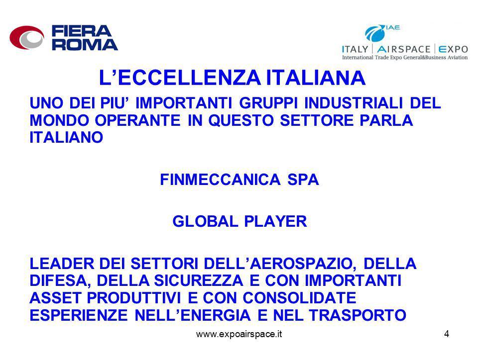 www.expoairspace.it4 L'ECCELLENZA ITALIANA UNO DEI PIU' IMPORTANTI GRUPPI INDUSTRIALI DEL MONDO OPERANTE IN QUESTO SETTORE PARLA ITALIANO FINMECCANICA SPA GLOBAL PLAYER LEADER DEI SETTORI DELL'AEROSPAZIO, DELLA DIFESA, DELLA SICUREZZA E CON IMPORTANTI ASSET PRODUTTIVI E CON CONSOLIDATE ESPERIENZE NELL'ENERGIA E NEL TRASPORTO