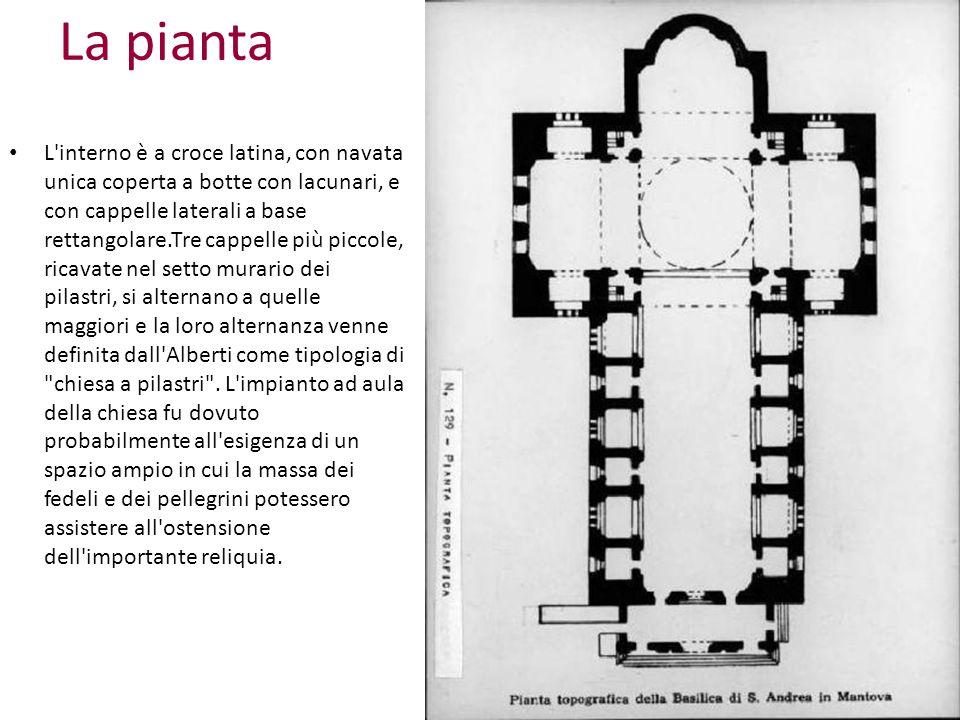 La pianta L'interno è a croce latina, con navata unica coperta a botte con lacunari, e con cappelle laterali a base rettangolare.Tre cappelle più picc