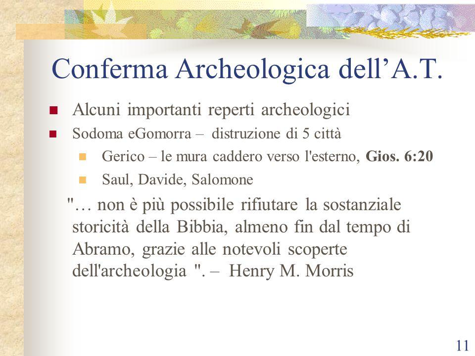 11 Conferma Archeologica dell'A.T. Alcuni importanti reperti archeologici Sodoma eGomorra – distruzione di 5 città Gerico – le mura caddero verso l'es