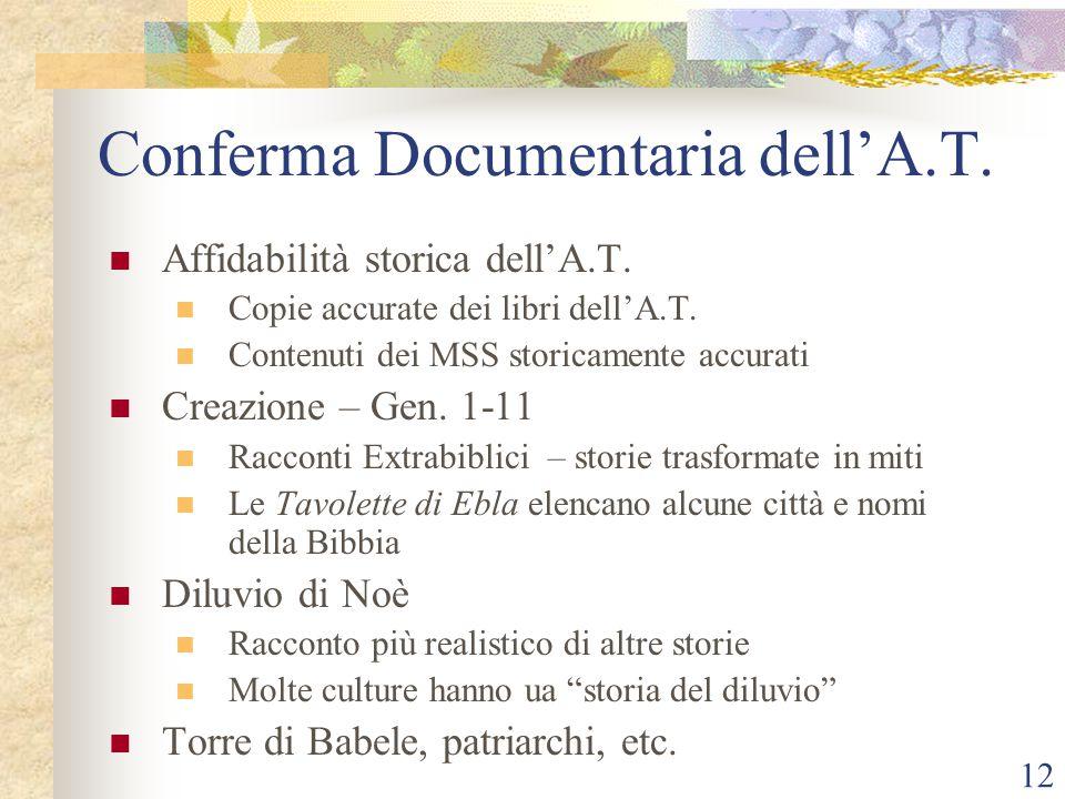 12 Conferma Documentaria dell'A.T. Affidabilità storica dell'A.T. Copie accurate dei libri dell'A.T. Contenuti dei MSS storicamente accurati Creazione