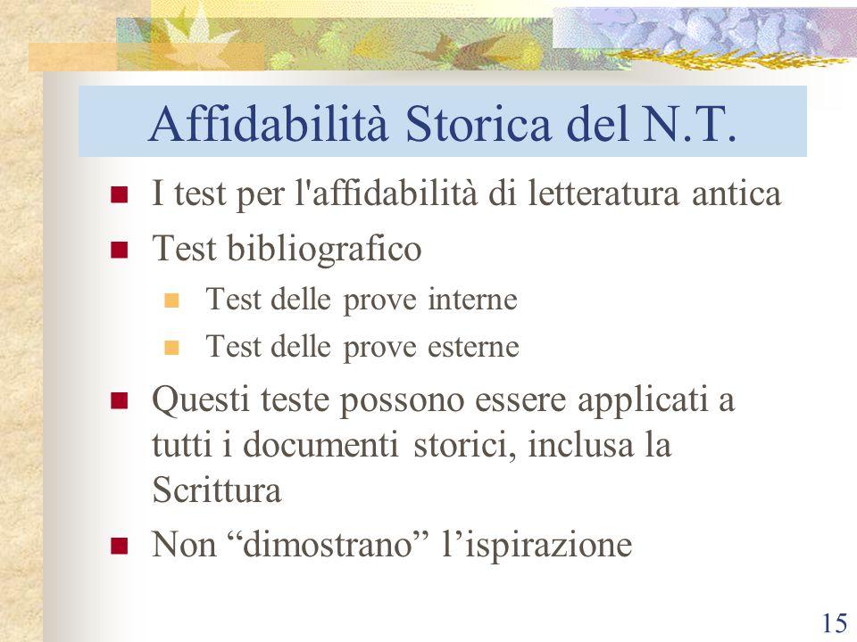 15 Affidabilità Storica del N.T. I test per l'affidabilità di letteratura antica Test bibliografico Test delle prove interne Test delle prove esterne