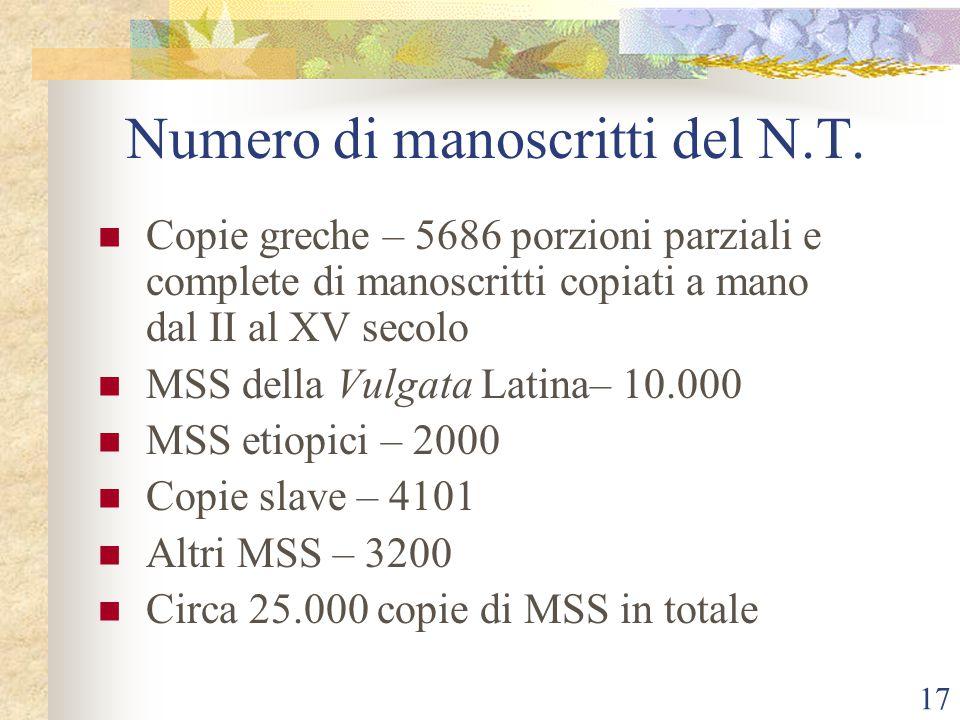 17 Numero di manoscritti del N.T. Copie greche – 5686 porzioni parziali e complete di manoscritti copiati a mano dal II al XV secolo MSS della Vulgata