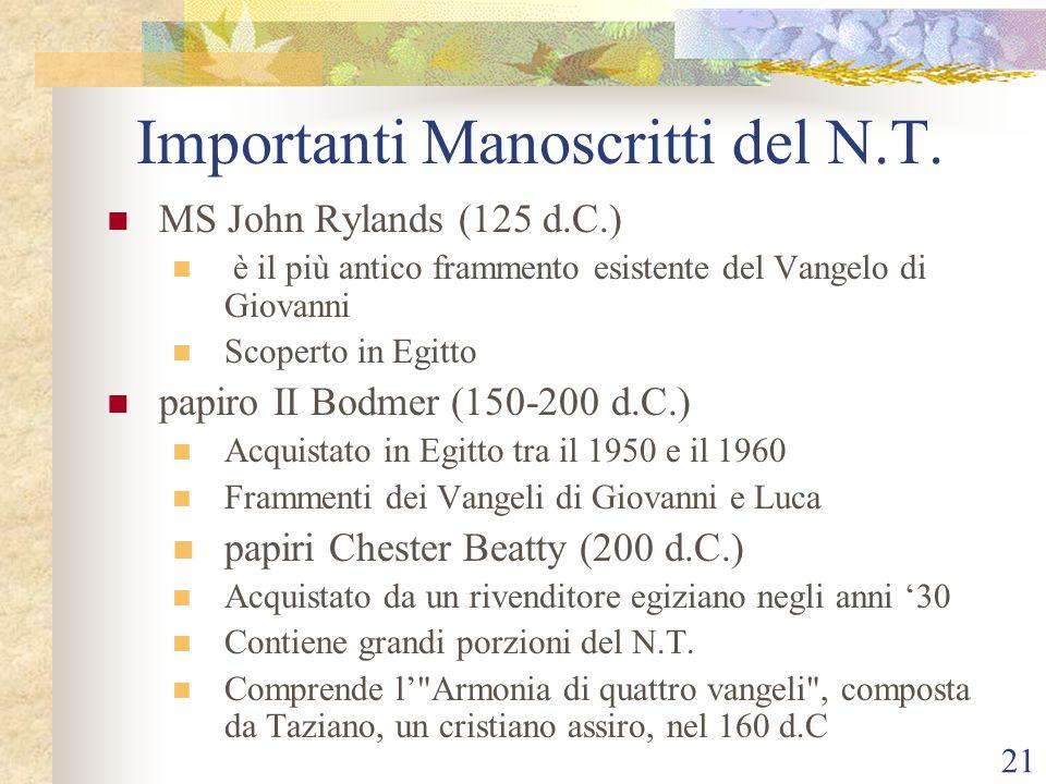 21 Importanti Manoscritti del N.T. MS John Rylands (125 d.C.) è il più antico frammento esistente del Vangelo di Giovanni Scoperto in Egitto papiro II