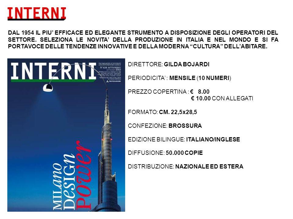 DIRETTORE: GILDA BOJARDI PERIODICITA' : MENSILE (10 NUMERI) PREZZO COPERTINA : € 8.00 € 10.00 CON ALLEGATI FORMATO: CM.