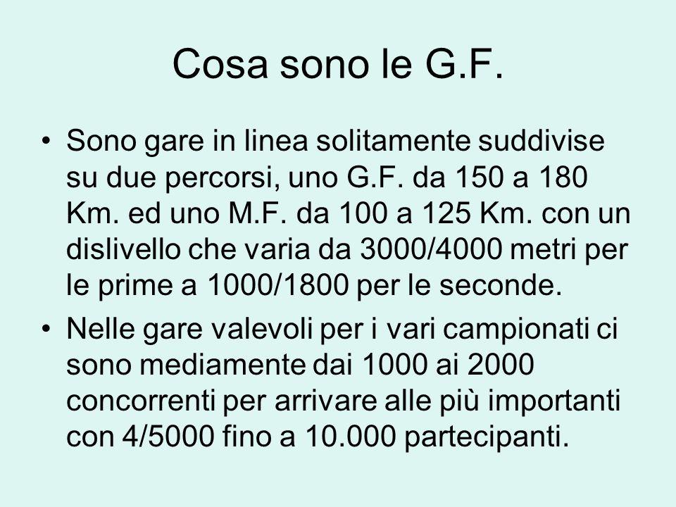 Cosa sono le G.F. Sono gare in linea solitamente suddivise su due percorsi, uno G.F. da 150 a 180 Km. ed uno M.F. da 100 a 125 Km. con un dislivello c