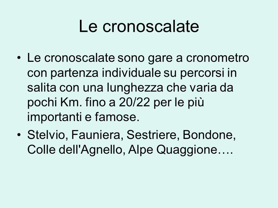 Le cronoscalate Le cronoscalate sono gare a cronometro con partenza individuale su percorsi in salita con una lunghezza che varia da pochi Km. fino a