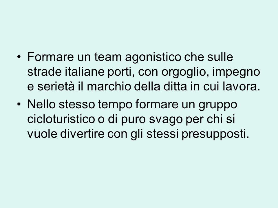 Formare un team agonistico che sulle strade italiane porti, con orgoglio, impegno e serietà il marchio della ditta in cui lavora. Nello stesso tempo f
