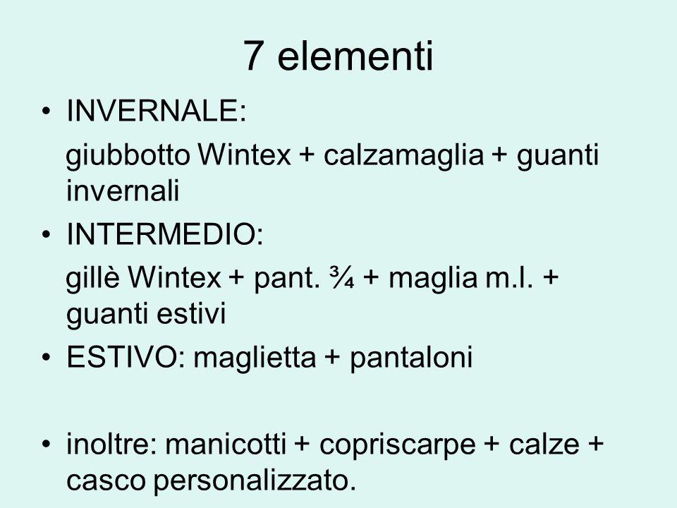 7 elementi INVERNALE: giubbotto Wintex + calzamaglia + guanti invernali INTERMEDIO: gillè Wintex + pant. ¾ + maglia m.l. + guanti estivi ESTIVO: magli