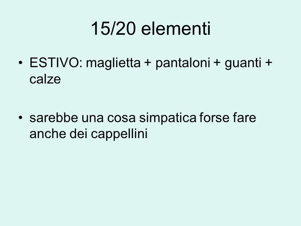 15/20 elementi ESTIVO: maglietta + pantaloni + guanti + calze sarebbe una cosa simpatica forse fare anche dei cappellini