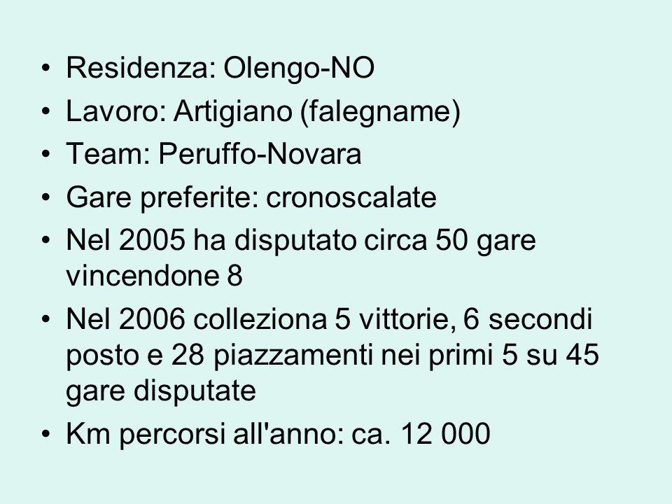 Residenza: Olengo-NO Lavoro: Artigiano (falegname) Team: Peruffo-Novara Gare preferite: cronoscalate Nel 2005 ha disputato circa 50 gare vincendone 8