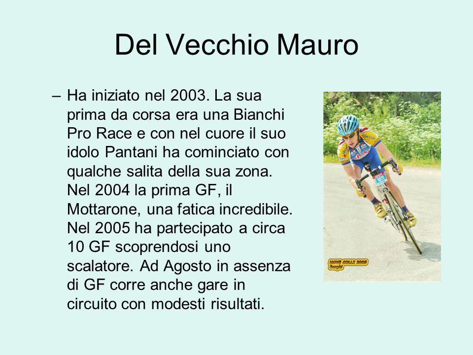 Del Vecchio Mauro –Ha iniziato nel 2003. La sua prima da corsa era una Bianchi Pro Race e con nel cuore il suo idolo Pantani ha cominciato con qualche