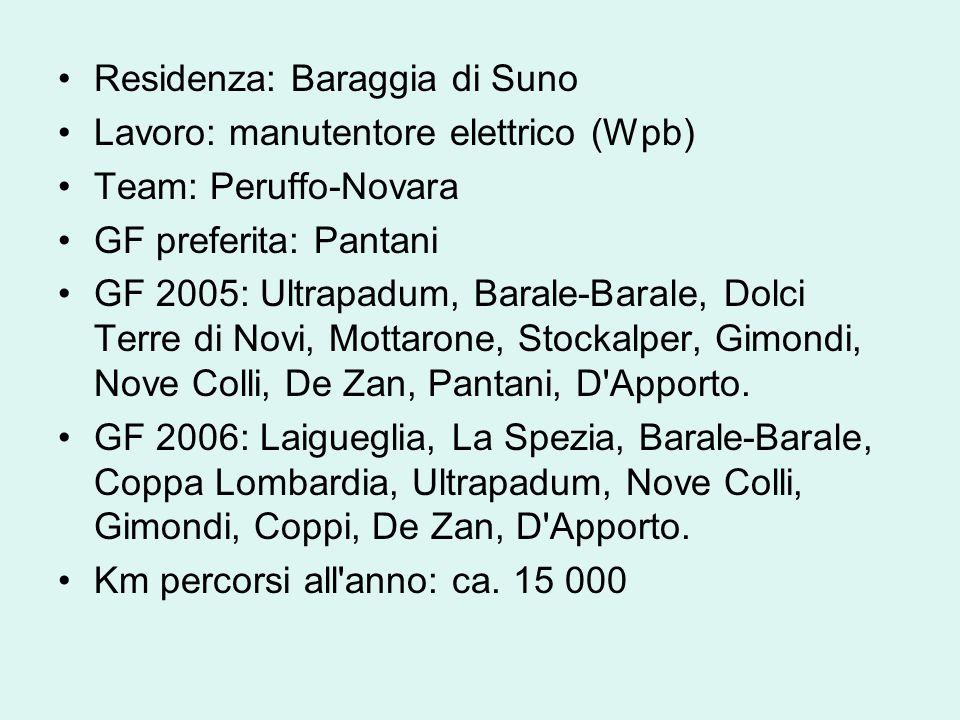 Residenza: Baraggia di Suno Lavoro: manutentore elettrico (Wpb) Team: Peruffo-Novara GF preferita: Pantani GF 2005: Ultrapadum, Barale-Barale, Dolci T