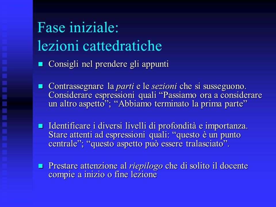 Fase iniziale: lezioni cattedratiche c) La compilazione degli appunti.