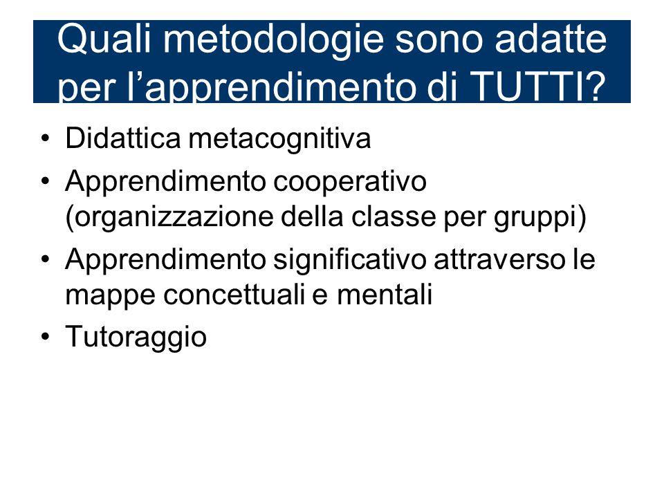 Didattica metacognitiva Apprendimento cooperativo (organizzazione della classe per gruppi) Apprendimento significativo attraverso le mappe concettuali