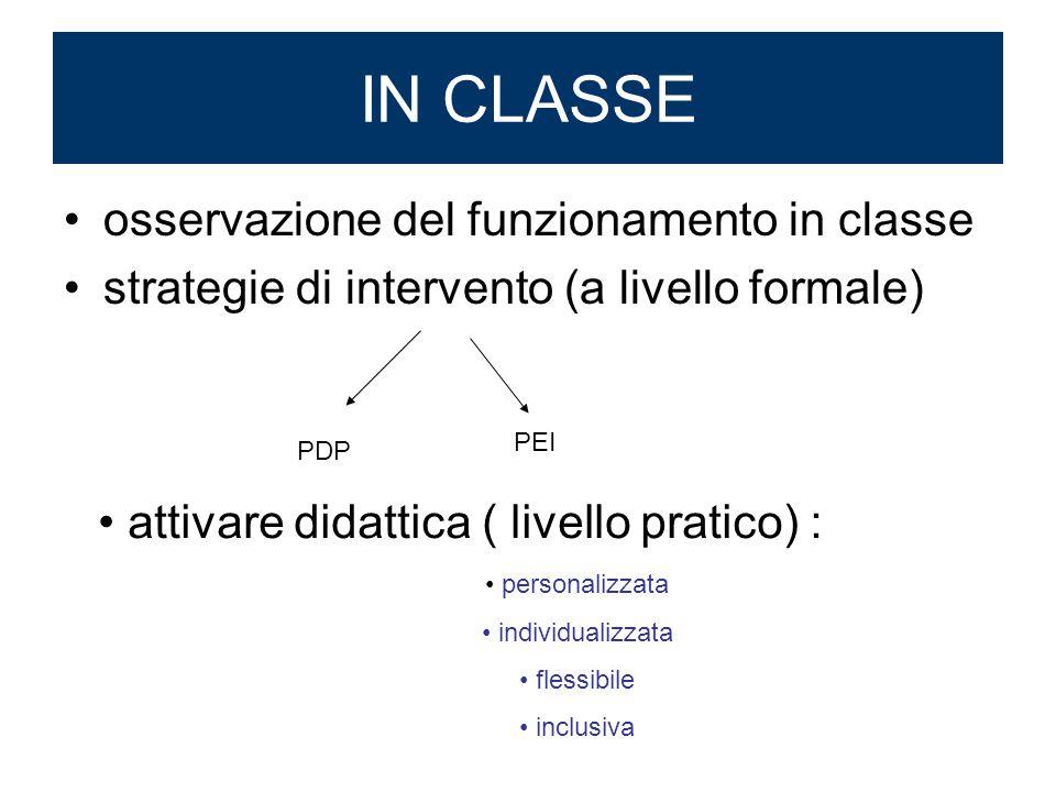 osservazione del funzionamento in classe strategie di intervento (a livello formale) IN CLASSE PDP PEI personalizzata individualizzata flessibile incl