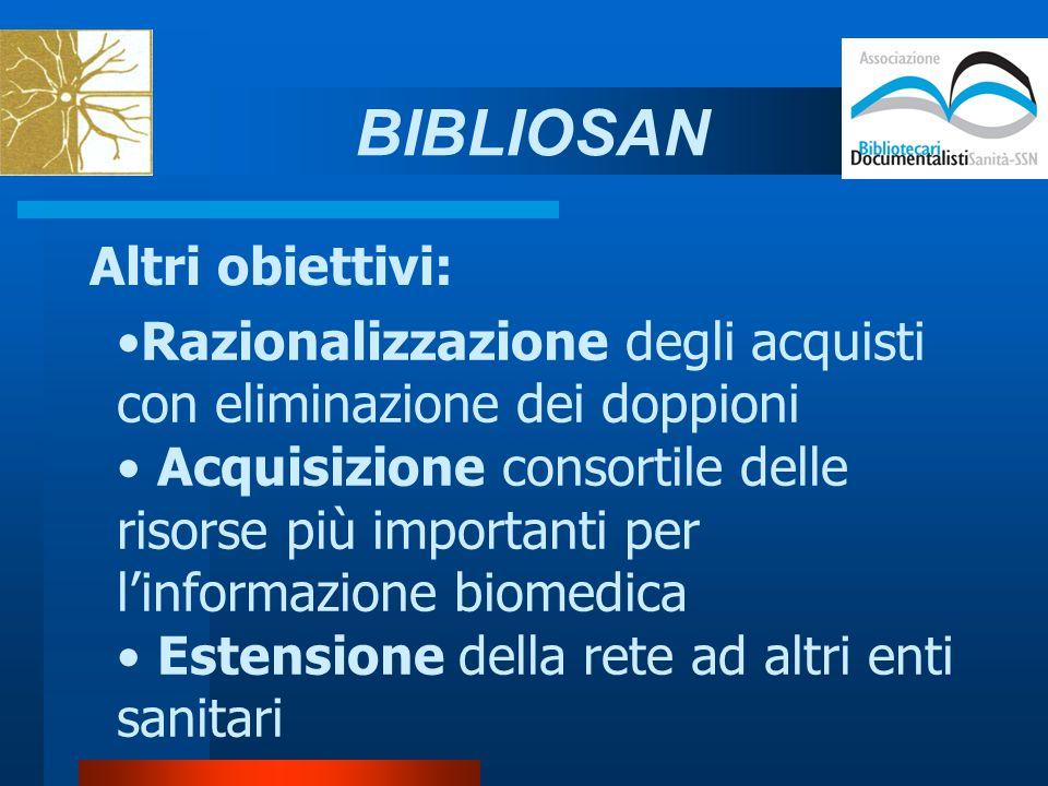 Altri obiettivi: Razionalizzazione degli acquisti con eliminazione dei doppioni Acquisizione consortile delle risorse più importanti per l'informazione biomedica Estensione della rete ad altri enti sanitari BIBLIOSAN