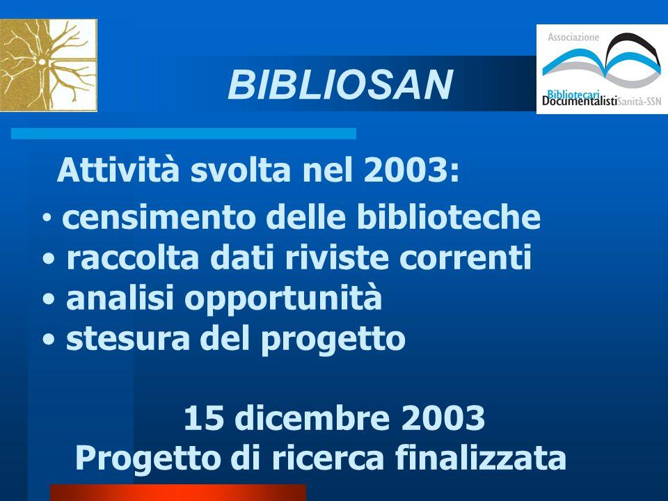 Attività svolta nel 2003: censimento delle biblioteche raccolta dati riviste correnti analisi opportunità stesura del progetto 15 dicembre 2003 Progetto di ricerca finalizzata BIBLIOSAN