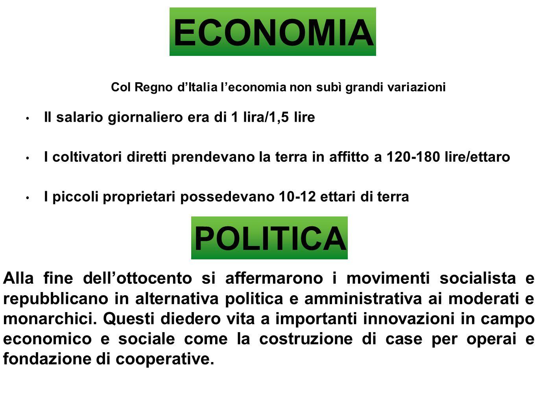 ECONOMIA Col Regno d'Italia l'economia non subì grandi variazioni Il salario giornaliero era di 1 lira/1,5 lire I coltivatori diretti prendevano la te