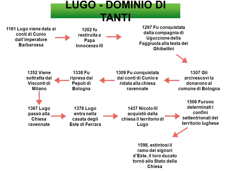 LUGO - DOMINIO DI TANTI 1161 Lugo viene data ai conti di Cunio dall'imperatore Barbarossa 1202 fu restiruita a Papa Innocenzo III 1297 Fu conquistata