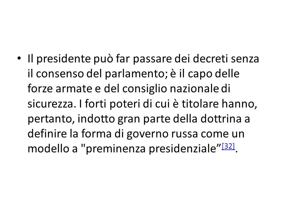 Il presidente può far passare dei decreti senza il consenso del parlamento; è il capo delle forze armate e del consiglio nazionale di sicurezza. I for