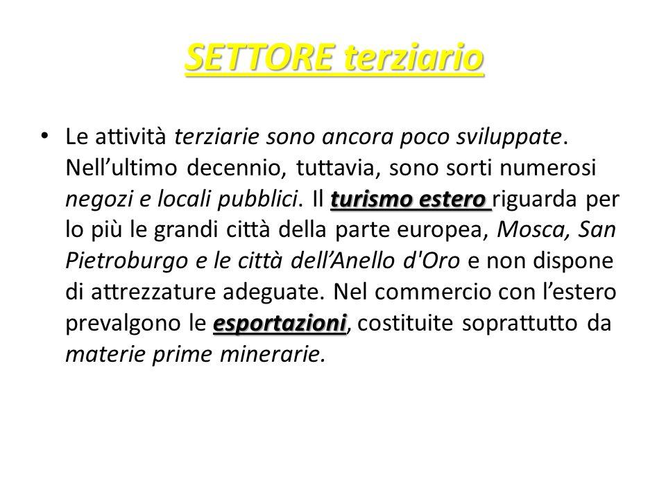SETTORE terziario turismo estero esportazioni Le attività terziarie sono ancora poco sviluppate. Nell'ultimo decennio, tuttavia, sono sorti numerosi n