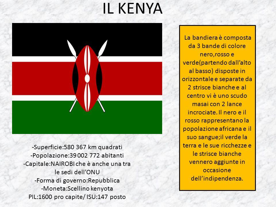 IL KENYA -Superficie:580 367 km quadrati -Popolazione:39 002 772 abitanti -Capitale:NAIROBI che è anche una tra le sedi dell'ONU -Forma di governo:Rep
