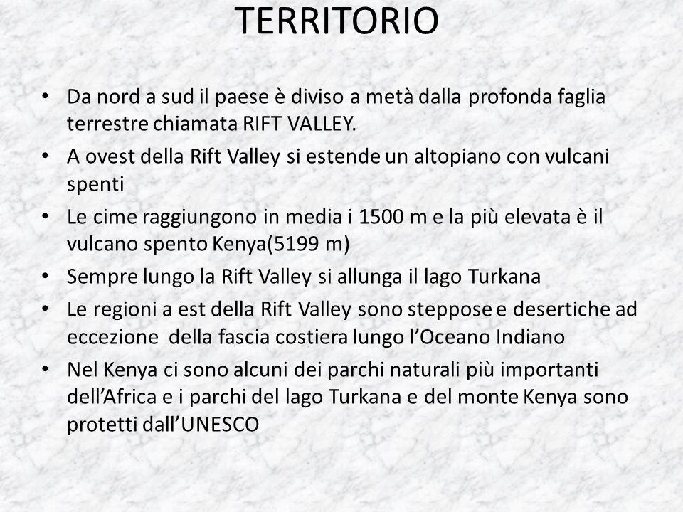 TERRITORIO Da nord a sud il paese è diviso a metà dalla profonda faglia terrestre chiamata RIFT VALLEY. A ovest della Rift Valley si estende un altopi