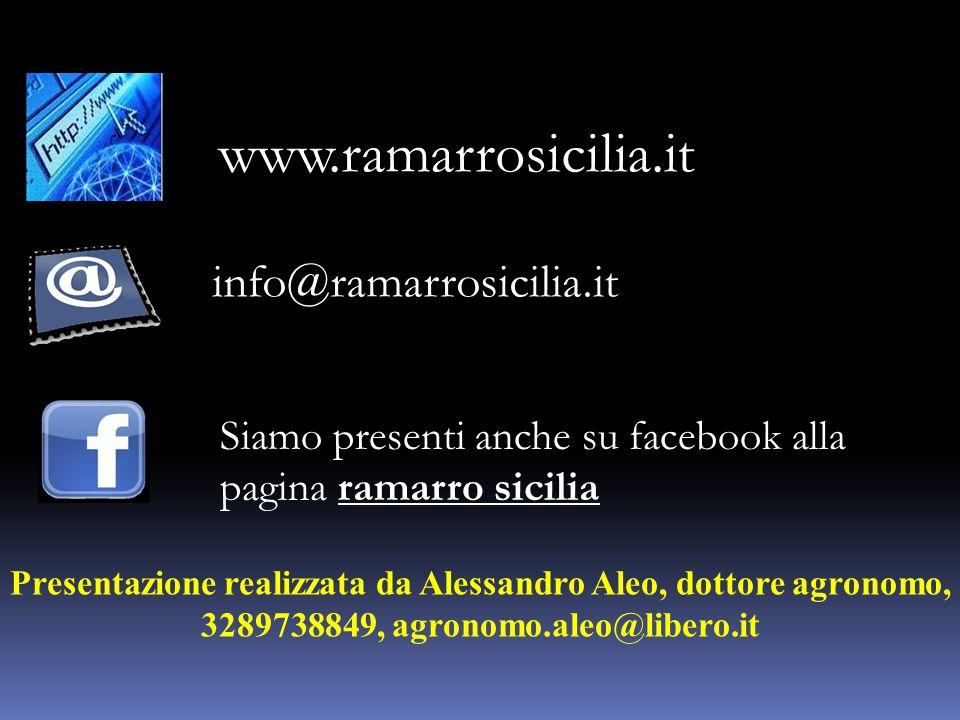www.ramarrosicilia.it info@ramarrosicilia.it Siamo presenti anche su facebook alla pagina ramarro sicilia Presentazione realizzata da Alessandro Aleo, dottore agronomo, 3289738849, agronomo.aleo@libero.it