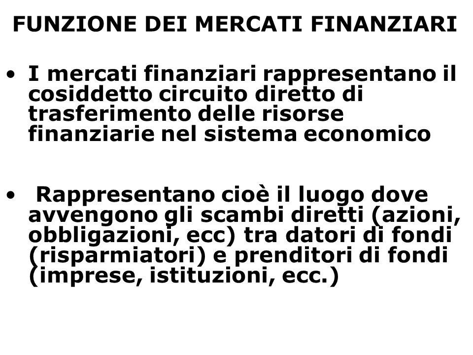 FUNZIONE DEI MERCATI FINANZIARI I mercati finanziari rappresentano il cosiddetto circuito diretto di trasferimento delle risorse finanziarie nel siste