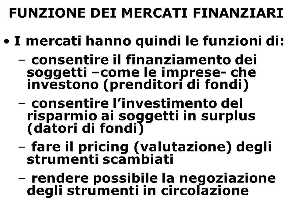 FUNZIONE DEI MERCATI FINANZIARI I mercati hanno quindi le funzioni di: – consentire il finanziamento dei soggetti –come le imprese- che investono (pre