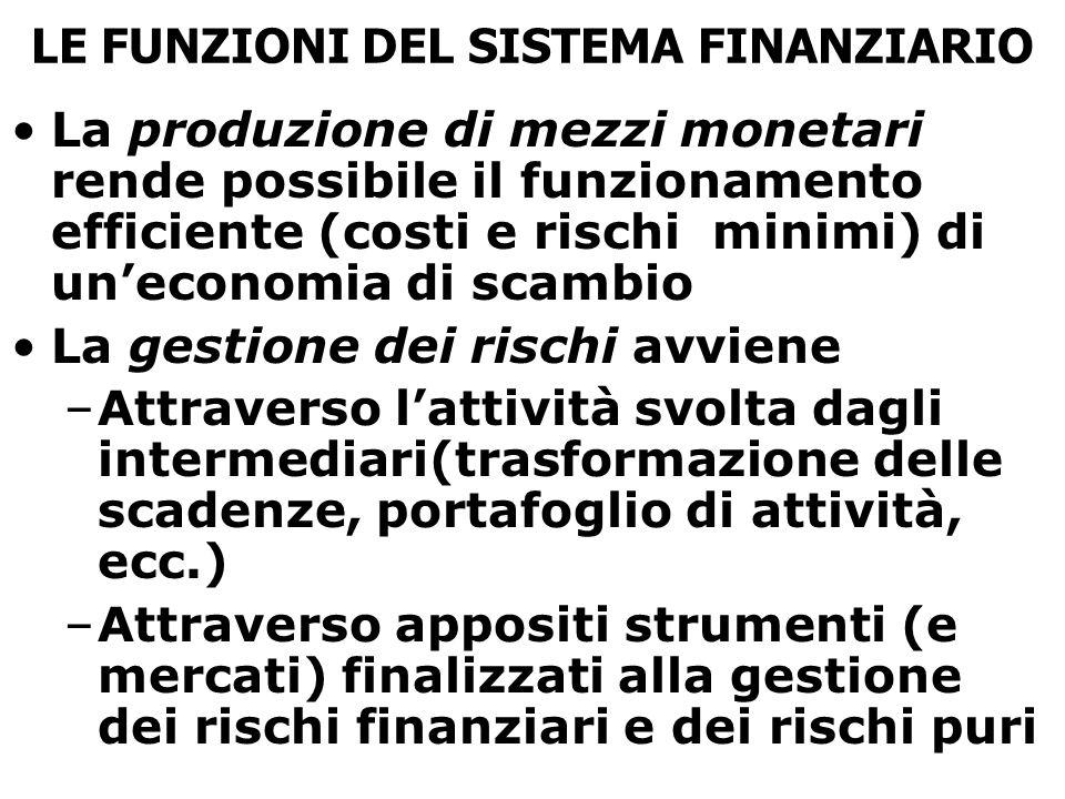 LE FUNZIONI DEL SISTEMA FINANZIARIO La produzione di mezzi monetari rende possibile il funzionamento efficiente (costi e rischi minimi) di un'economia