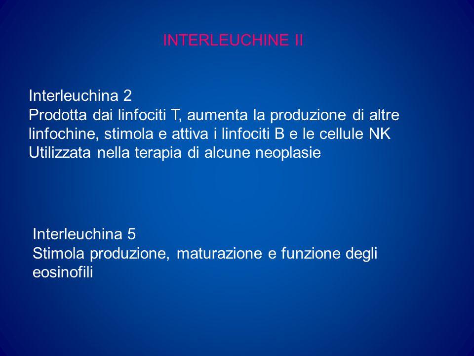 INTERLEUCHINE III Interleuchina 6 Fattore importante nella risposta immune e nella infiammazione Stimola la produzione di piastrine Interleuchina 11 Effetti biologici sovrapponibili alla IL-6