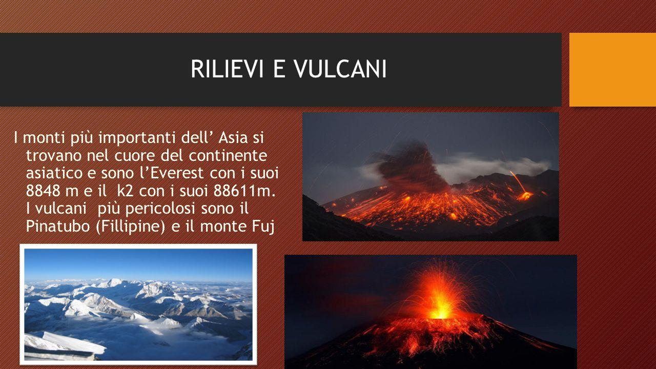 RILIEVI E VULCANI I monti più importanti dell' Asia si trovano nel cuore del continente asiatico e sono l'Everest con i suoi 8848 m e il k2 con i suoi 88611m.