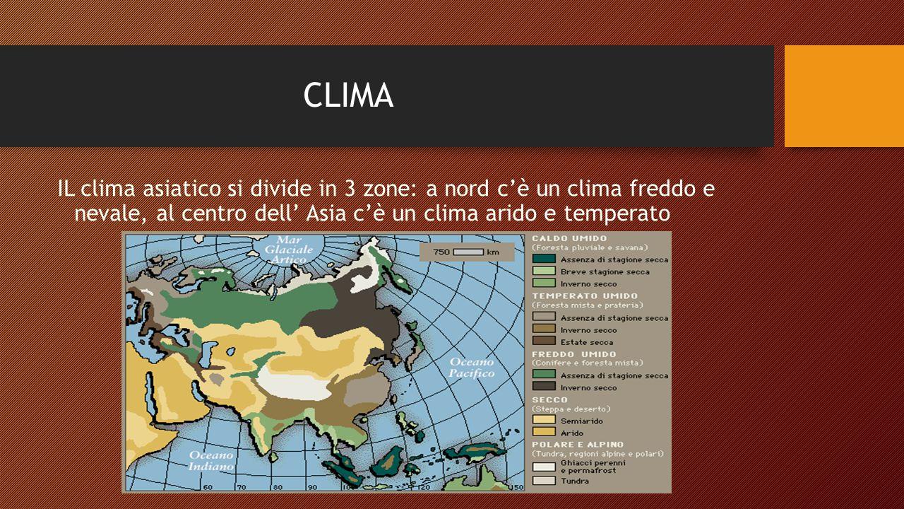 CLIMA IL clima asiatico si divide in 3 zone: a nord c'è un clima freddo e nevale, al centro dell' Asia c'è un clima arido e temperato