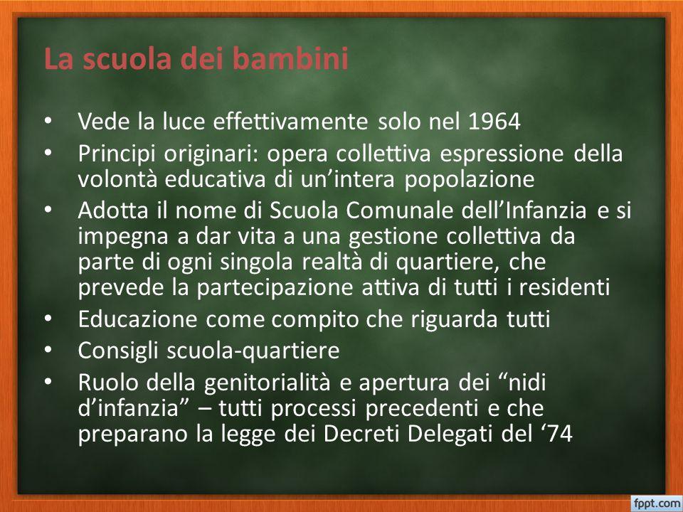 La scuola dei bambini Vede la luce effettivamente solo nel 1964 Principi originari: opera collettiva espressione della volontà educativa di un'intera