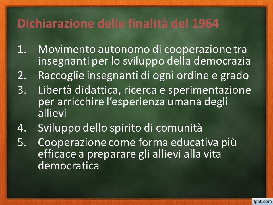 Dichiarazione delle finalità del 1964 1.Movimento autonomo di cooperazione tra insegnanti per lo sviluppo della democrazia 2.Raccoglie insegnanti di o