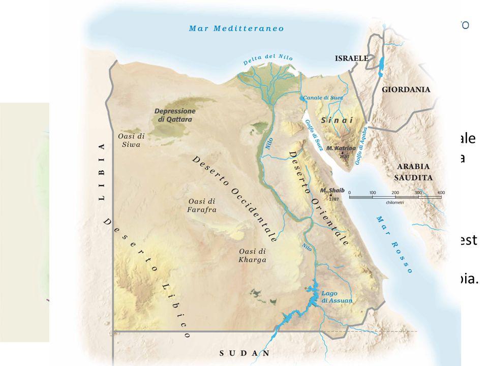 Territorio Occupa l'angolo nordorientale dell'africa e comprende la penisola del Sinai. È bagnato a nord dal mar mediterraneo e a est dal mar rosso, c