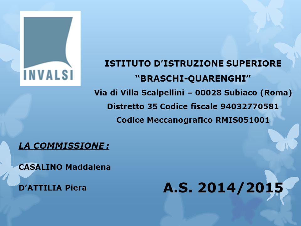LA COMMISSIONE : CASALINO Maddalena D'ATTILIA Piera ISTITUTO D'ISTRUZIONE SUPERIORE BRASCHI-QUARENGHI Via di Villa Scalpellini – 00028 Subiaco (Roma) Distretto 35 Codice fiscale 94032770581 Codice Meccanografico RMIS051001 A.S.