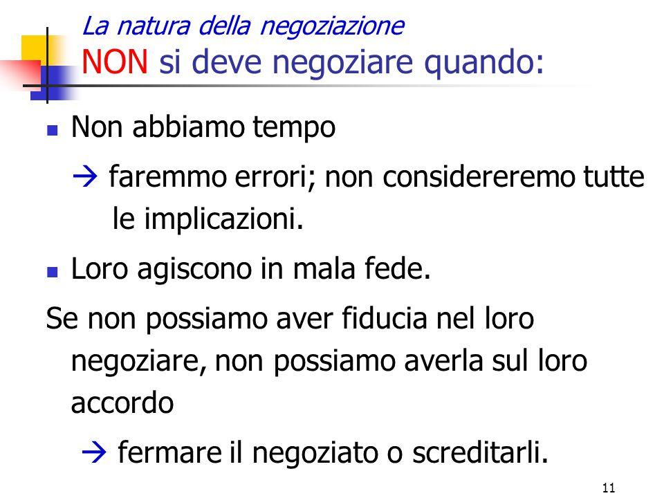 11 La natura della negoziazione NON si deve negoziare quando: Non abbiamo tempo  faremmo errori; non considereremo tutte le implicazioni. Loro agisco