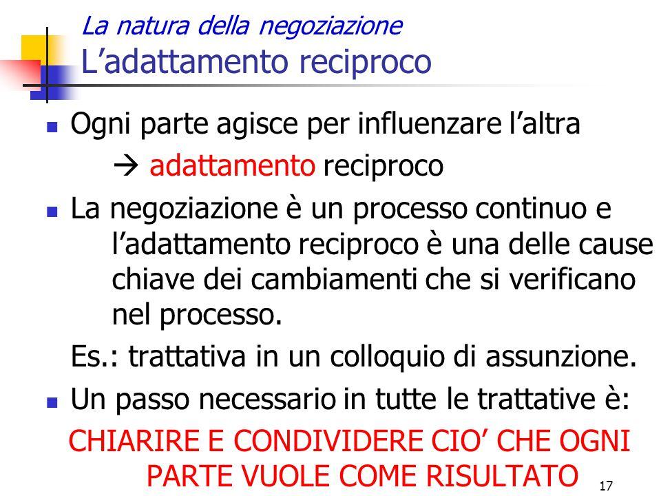 17 La natura della negoziazione L'adattamento reciproco Ogni parte agisce per influenzare l'altra  adattamento reciproco La negoziazione è un process
