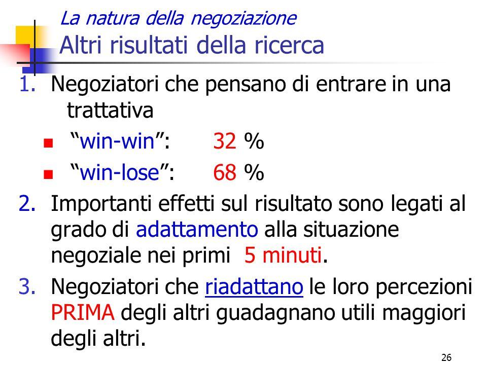 """26 La natura della negoziazione Altri risultati della ricerca 1.Negoziatori che pensano di entrare in una trattativa """"win-win"""":32 % """"win-lose"""": 68 % 2"""