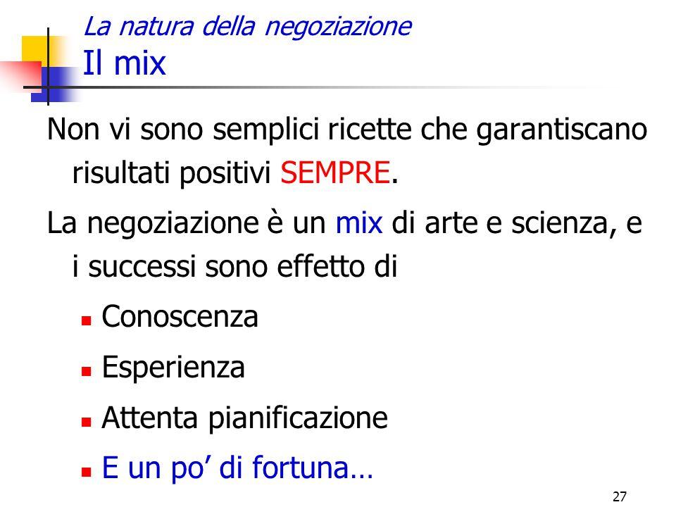 27 La natura della negoziazione Il mix Non vi sono semplici ricette che garantiscano risultati positivi SEMPRE. La negoziazione è un mix di arte e sci