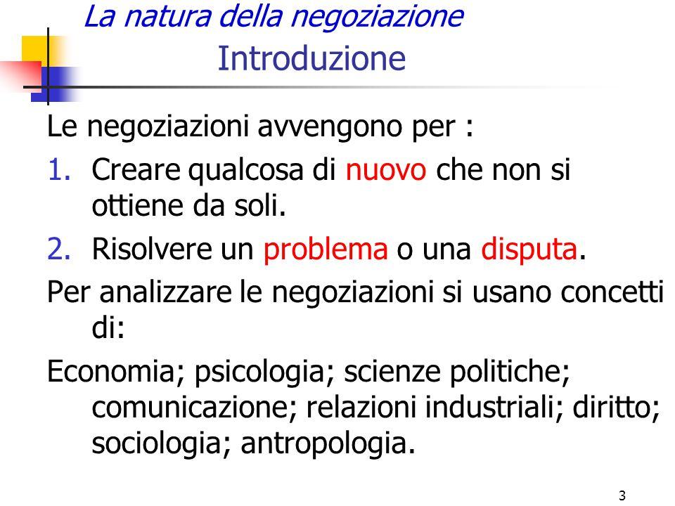 3 La natura della negoziazione Introduzione Le negoziazioni avvengono per : 1.Creare qualcosa di nuovo che non si ottiene da soli. 2.Risolvere un prob
