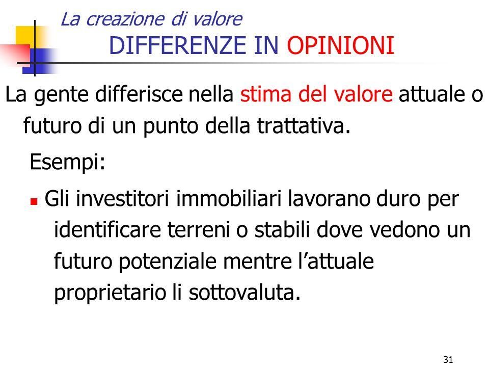 31 La creazione di valore DIFFERENZE IN OPINIONI La gente differisce nella stima del valore attuale o futuro di un punto della trattativa. Esempi: Gli