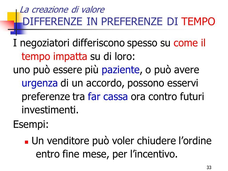 33 La creazione di valore DIFFERENZE IN PREFERENZE DI TEMPO I negoziatori differiscono spesso su come il tempo impatta su di loro: uno può essere più