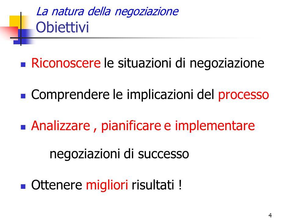 4 La natura della negoziazione Obiettivi Riconoscere le situazioni di negoziazione Comprendere le implicazioni del processo Analizzare, pianificare e